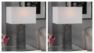 PAIR SANDERSON RUSTIC RIBBED TEXTURED CERAMIC TABLE LAMP UTTERMOST 29737