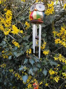 GARDEN WIND CHIMES METAL WIND CHIMES RAINBOW PAINTED WOODEN OWL MADE IN BALI