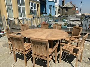 Teak A Grade Table Set With 8 Chairs Cirlce When Closes Opens Up To Oval