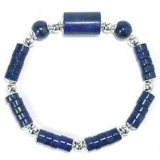 LAPISLAZULI Armband elastisch Rad + Walze mit 925 Sterlingsilber 17cm dunkelblau