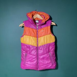 Girls Nike Hooded Gillet Age 13/15 Could Fit Ladies 4/6 Striped Colour Block