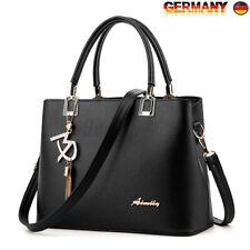 Schwarz Damen Tasche PU Leder Handtasche Umhängetasche Schultertasche Shopper DE