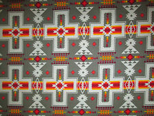 Navajo Indian Cross Olive Orange Print Cotton Fabric BTHY