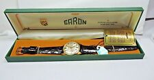 NOS Antique 1950's GARON Mens Wrist Watch 25j Automatic Day Date Tag Box #101