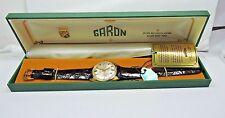 NOS Antique 1950's GARON Mens Wrist Watch 25j Automatic Day Date Tag Box #101