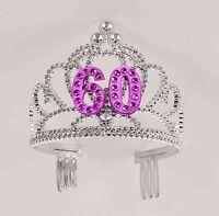 60th Birthday Party Plastic Silver Pink Tiara FREE U.S. FC SHIP !