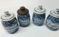 VINTAGE BLUE & WHITE PORCELAIN SPICE JARS FROM GERMANY SET OF 4 W LIDS RARE!