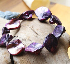 Armband ab 16 cm Perlmutt Pflaume Lila Silber irisierend elastisch Muschel Eckig