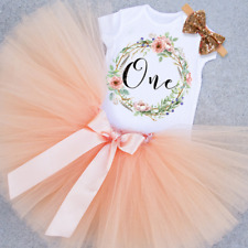 BABY GIRL1st MY FIRST BIRTHDAY CAKE SMASH PARTY PRINCESS OUTFIT PEACH TUTU SETS