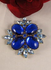 """Vintage Reproduction Blue Rhinestone 3"""" Brooch Pin CAT RESCUE"""