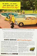 1955 Vintage ad for HERTZ Renta A Car System~Yellow 50's Car/pool (101113)