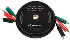 Retractable Test Leads Reel-3 Leads x 10' S & G TOOL AID 22830