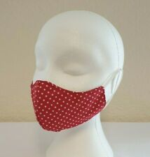 Face Mask Fitted Red Polka Dot (3 Pack) Reusable, Washable, Dual Layered.