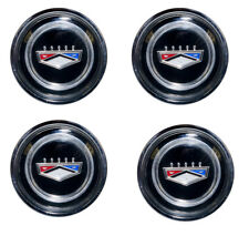 New! 1964-1973 Ford Crest Style Steel Wheel Black Center Caps Chrome Set of 4