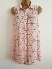 NEW Plus Size16-32 Triangle Print Chiffon Pink White Sleeveless Tunic Blouse Top