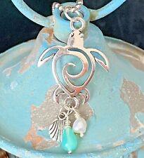 Silver Beach Coast Shell Ocean Charm Necklace. Freshwater Pearl. Sea Turtle