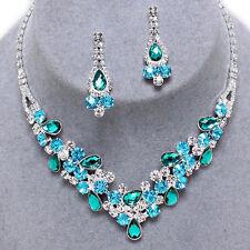 ELEGANT! AQUA BLUE Crystal Rhinestone V Cluster Prom Pageant Bridal Necklace Set