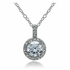Sterling Silver Aquamarine and White Topaz Halo Necklace