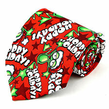 Hoppy Holidays Mens Necktie Christmas Neck Tie Santa Frogs Red Xmas Gift New