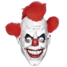 Latex Scary Clown Mask with Red Hair Halloween Evil Horror Fancy Dress Accessory