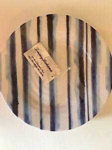 "Tommy Bahama Blue & White Stripe Melamine Lunch Salad Plates 8.5"" Set of 4 NEW"