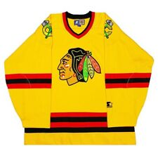 Vtg Very Rare NHL Chicago Blackhawks Gold Starter Hockey Jersey. Mens Large.