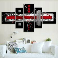 5 PCS Modern Abstract Wall Art Red Black Gray Canvas Print Paintings Home Decor