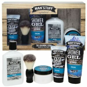 Mens Grooming Gift Set Kit Skin Care Charcoal Face Wash Shaving Cream Balm Brush