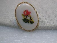 Vintage Gold Tone Rose Decal Cameo Style Brooch, 1960-1970's