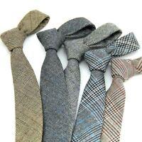 Men's Classic Casual Striped Cashmere Wool Tie Elegant Business Plaid Necktie