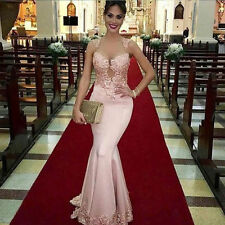 Pink Satin Long Lace Wedding Mermaid Evening Dress Vestido De Festa Prom Gown
