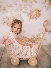 Vintage doll pram, handmade wicker, FREE bedding, FREE name plaque, low pram