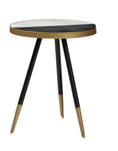 Baxton Lauro Glossy Contemporary End Table w/Two-Tone Black & Gold Legs - NEW