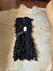 LANVIN x H&M Hiver 2010 Women's Black Ruffled Tiered Dress Size 6 NWT $149