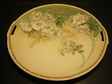 """Fancy Old RS Germany Hand Painted 2 Handled 9.75"""" Serving Plate"""