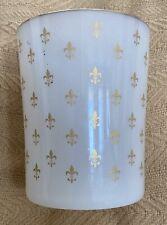 """Large Gilt Opaline Glass Vase/Cup with Fleur de Lis Pattern- 5.25"""" x 4.25"""""""