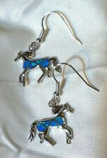 Lovely Pair of HORSE EARRINGS Sterling Silver Filled BLUE/GREEN Fire OPAL GIFT!