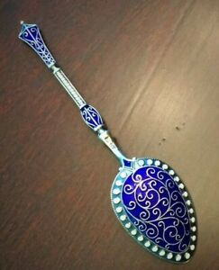 Stunning Antique Guilloche Enameled Jeweled Sterling Silver Spoon Marius Hammer