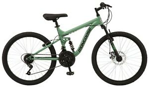 """Boy's 24"""" Major Mountain Pro Bike Off Road Tires 18-Speed Bicycle, Pine Green"""