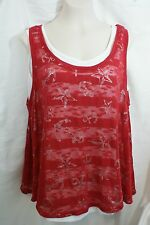 SZ 1X STYLE & CO Womens 2 pc Tank Top White Knit Red Mesh Top NWT! 4th of July?