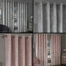 Paris Glitter Crushed Velvet Fully Lined Eyelet Ring Curtains Silver Grey Pink