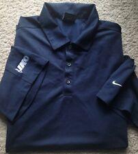 New! Nike Golf Drifit-Navy Perform.Poly, Mens Ss/3B, Logo Polo Golf Shirt-(L)