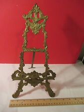 "Ornate Vintage 12"" Brass Picture Plate EASEL Book Display Stand 12 inch"