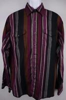 WRANGLER VTG X-Long Tails Western Cowboy Rodeo PEARL SNAP Shirt Striped Mens L