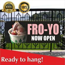 Fro-Yo Now Open Banner Vinyl / Mesh Banner Sign New Business Grand Opening