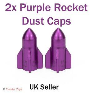 2X Purple Rockets Alloy Valve Stem Dust Caps Car BMX Bike Motorbike Wheel Tyre
