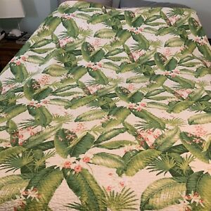 Tommy Bahama Queen/Full Reversable Quilt Tropical Orchids Palms Greens