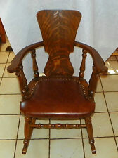 Quartersawn Oak Rocker / Rocking Chair with brown leather (R138)