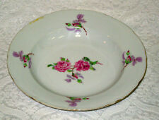 "Vintage Fine Bohemian China Czech 8 1/2"" Soup Bowl Pink Roses Thun 49V"