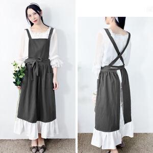 Lady Japanese Apron Cotton Pockets Ruffled Spliced Soft Housework Florist Dress